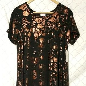 NWT LuLaRoe Carly Dress Black w Copper Floral Foil